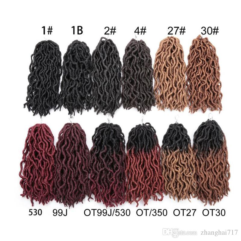 6 Pack Synthetic Wave Gypsy Locs Crochet Hair 12 Inch Ombre Wavy Soul Goddess locs Hair Extensions Faux Nu Locks For Black women