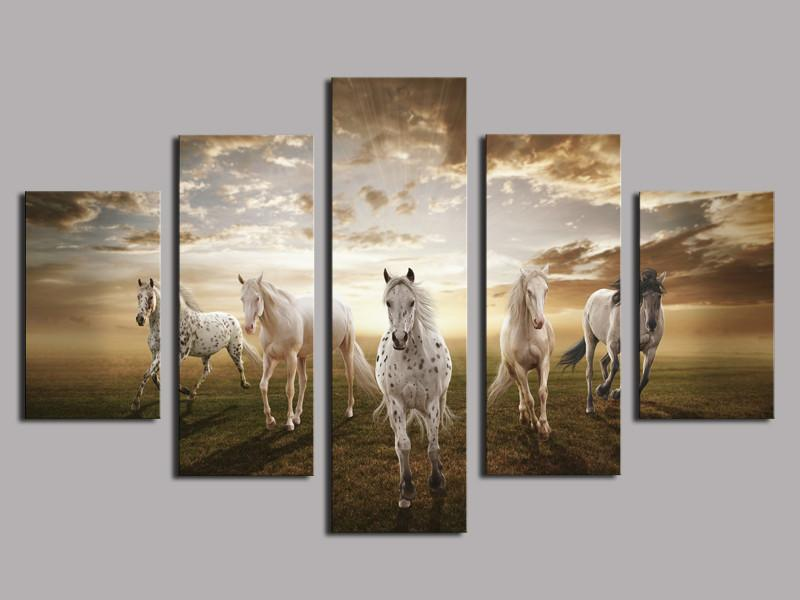 Running Horse Large,5 Pieces Canvas Prints Wall Art Oil Painting Home Decor (Unframed/Framed)