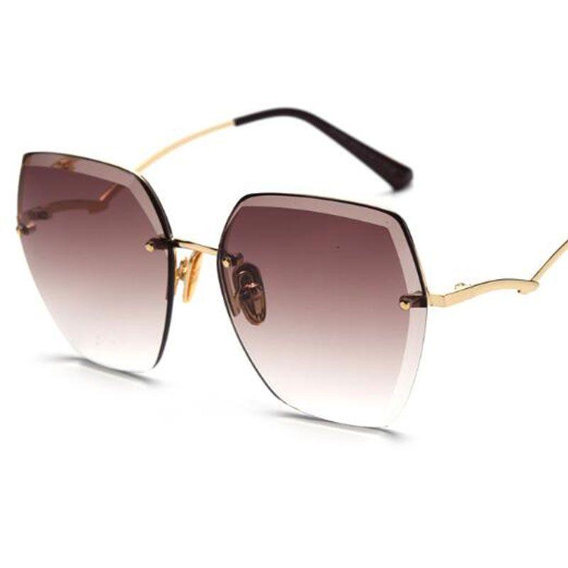 2020 para nuevas gafas de lujo sin montura de lujo Mujeres grandes diseñadores de moda Sombras Gafas de Gafas Brown Gradiente UV400 Señoras Mujeres Sunglasses HBPPK