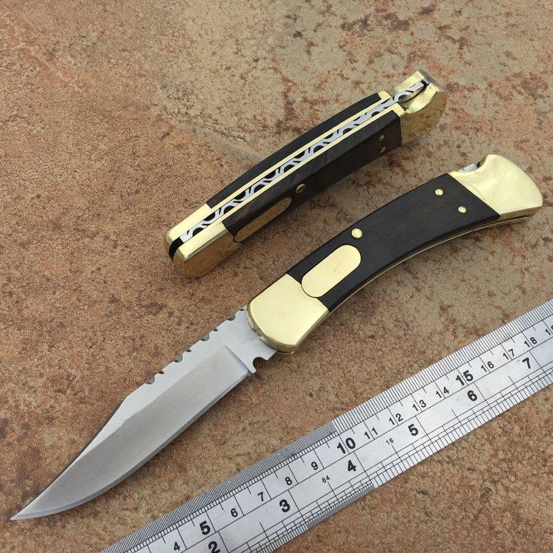 Laiton ébène 110 couteaux en dents de scie Boyle 440C Lame en acier inoxydable double Lame pliante Couteaux de poche double AUTO Camping couteaux avec s