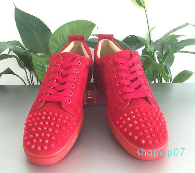 Men Shoes Red Bottom Sneaker Party Wedding Shoes,Genuine Leather Louisfalt Spikes Lace-up Casual Shoes 5colors 36-47C03