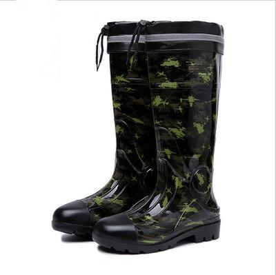 Vente-NOUVEAU Hot PVC caoutchouc talons bas antidérapante Bottes mi-mollet mâle eau Rainboots Chaussures de travail imperméables Chaussures d'eau Bottes Zapatos