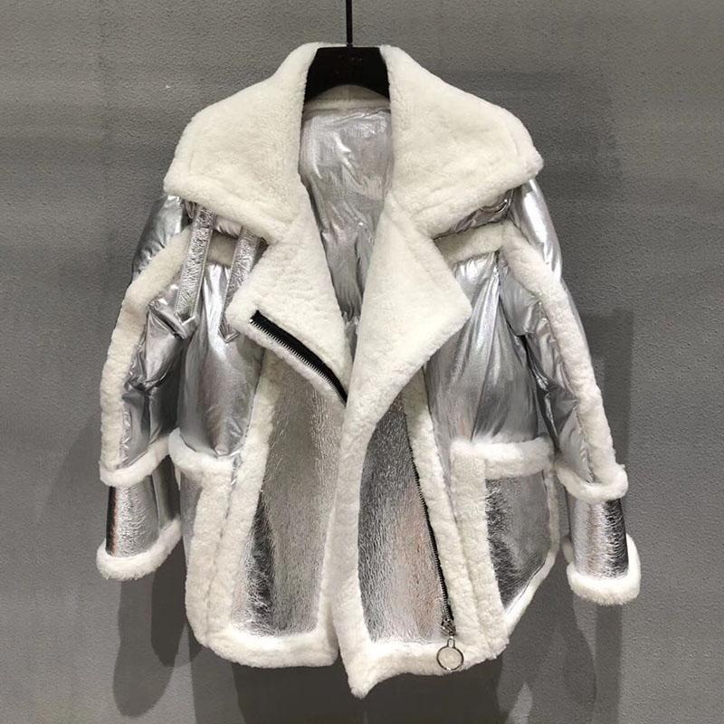2019 silver color genuine sheepskin leathe jackets for women coats winter warm turn down collar lxuruy big loose size outwear