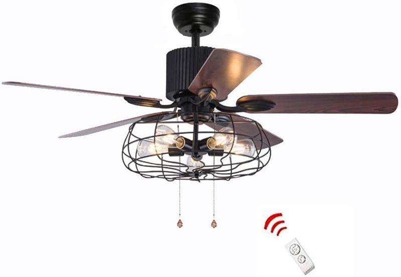 2020 52 42 Inch Retro Industrial Ceiling Fan With Light 5 ...