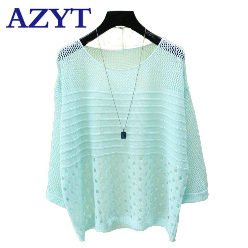 AZYT лето выдалбливает о шее вязать свитер свитера 2020 женщин твердого сыпучий тонкий Tops Jumper