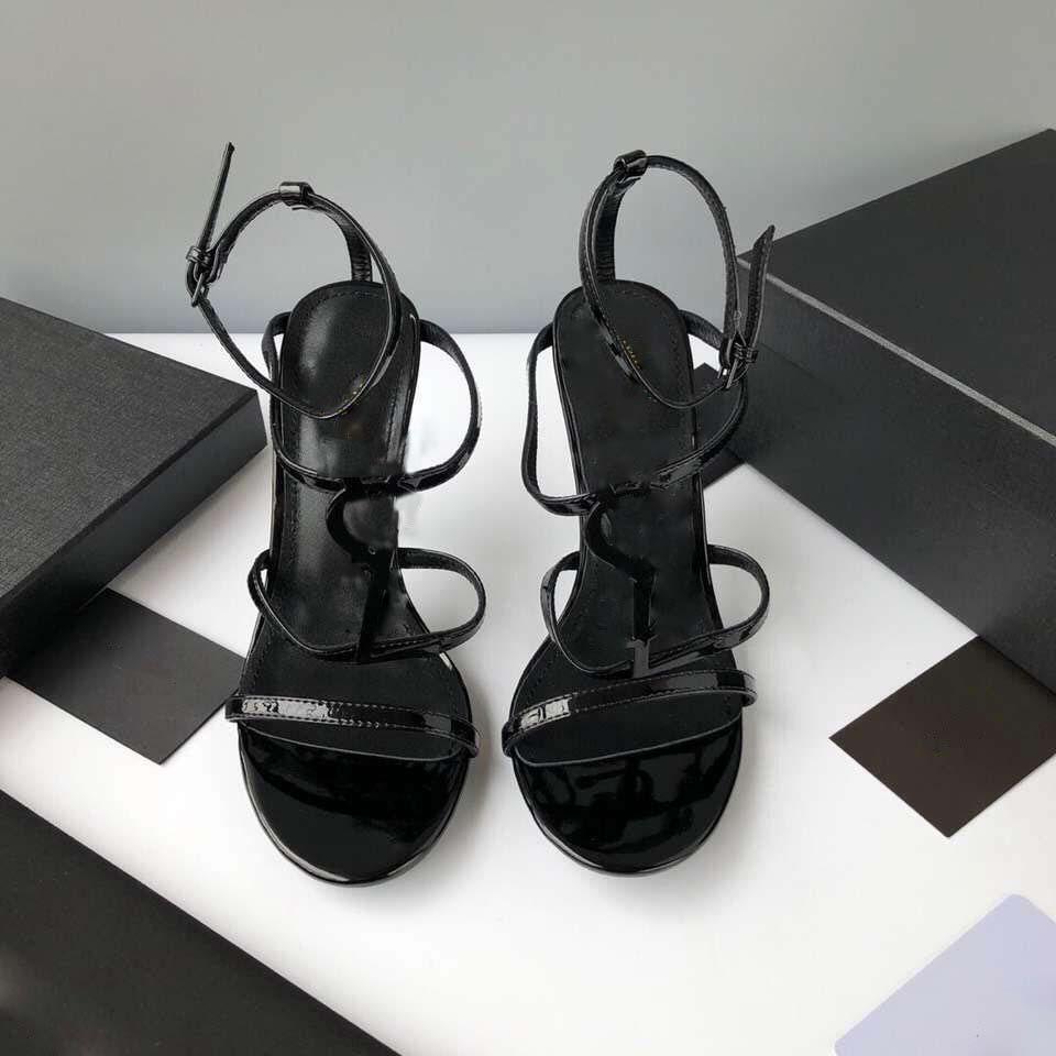 2020 Chaussures de mariage en cuir verni femmes d'été haute Chaussures à talons Pointu haut talon Rouge Noir Slip-On
