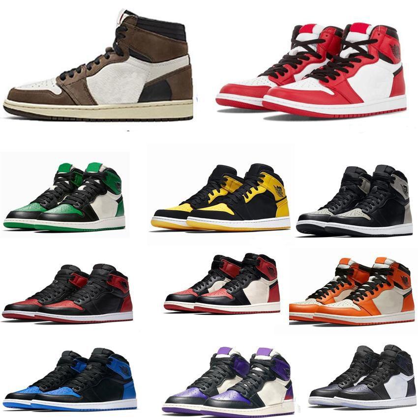 UNC Mens Homage To Home Royal Blu Uomini Sport 1 scarpe di alta OG Travis Scotts pallacanestro Spiderman Designer Sneakers Trainers