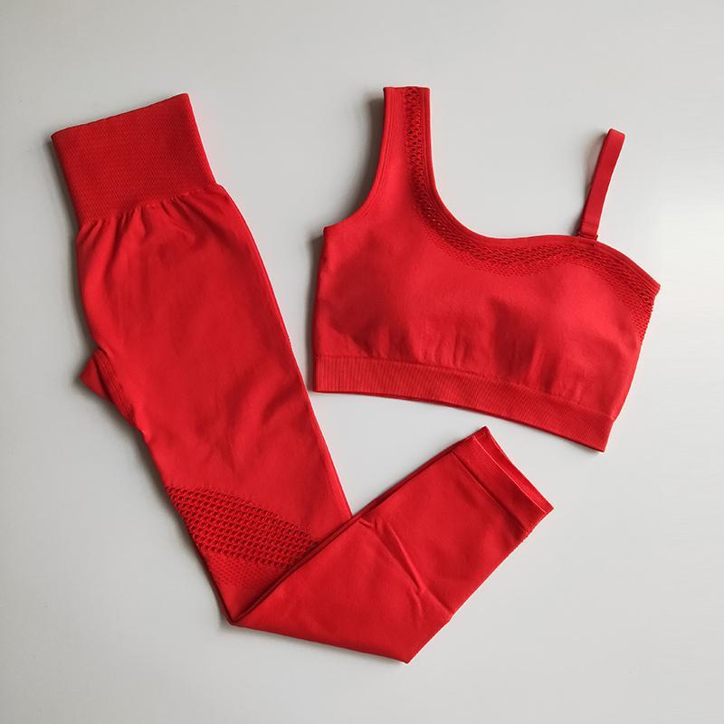 10 Cores Yoga Sem Costura Conjunto De Yoga Mulheres Roupas De Ginásio Oco Para Fora Leggings De Yoga Acolchoados Um Ombro Desporto Vestuário De Treino Soutien Vestuário Desportivo
