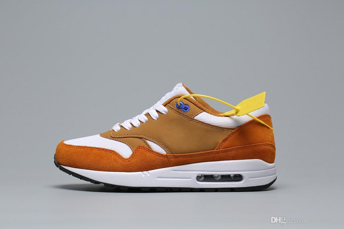 Compre Nike Air Max 1 Anniversary 2019 Hombres Mujeres Zapatos Casuales, Maxes Atmos 1 87 WATERMELON 87 Anniversary 1SUMMIT WHITE SUNSET PULSE BLANC