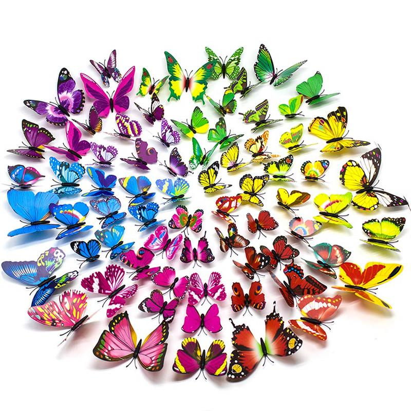 12pcs PVC 3D Butterfly Refrigerator Magnets Wall Stickers with Magnet for Wall Decor Home Party Decoration
