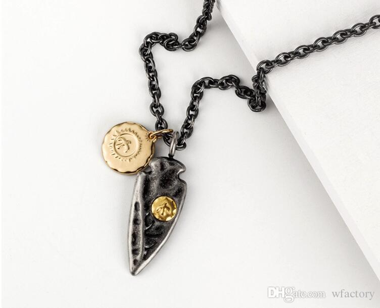 Flecha punta de lanza colgante collar para hombre novio regalo - titanio acero Vintage encanto cadena collares joyería HIPHOP