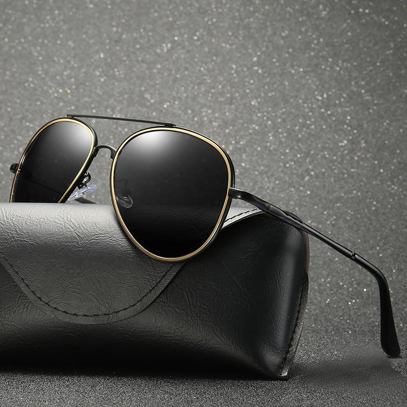 2019 синие поляризованные мужские солнцезащитные очки 5 цветов Uv400 металлический каркас овальные очки для вождения с коробкой Y19052004