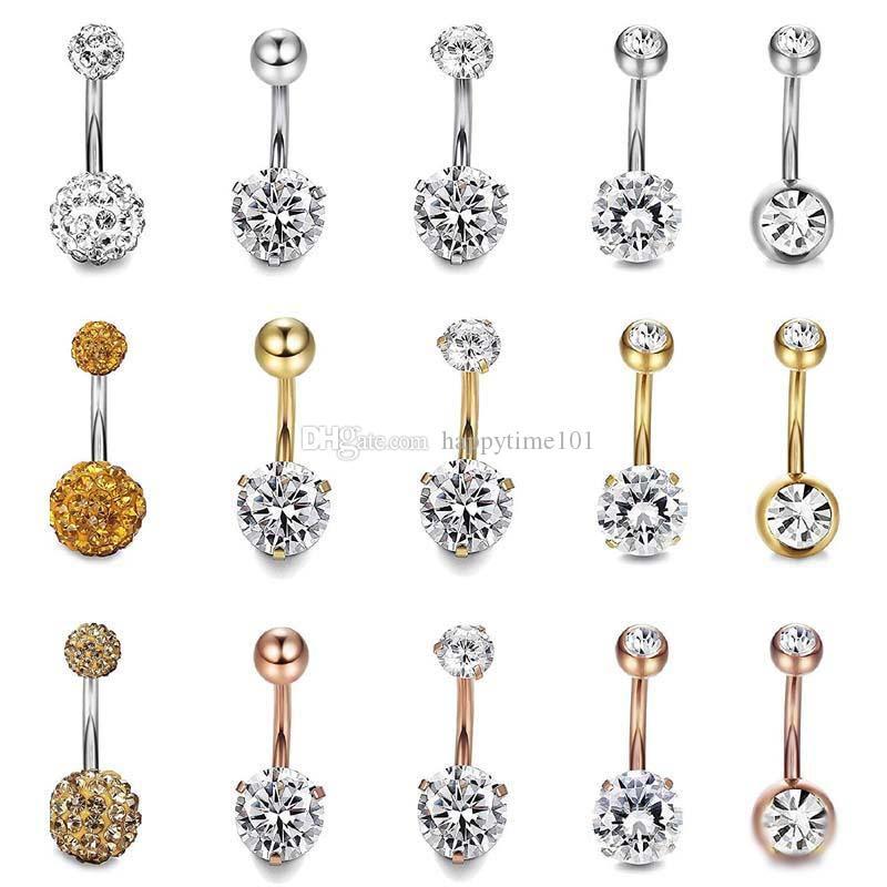 5 adet Set Paslanmaz Çelik Göbek Dangle Yüzük Bell Düğme Göbek Yüzükler Basit Rhinestone Vücut Piercing Moda Takı