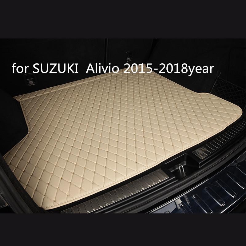cuero del coche estera tronco alfombra del piso de encargo antideslizante adecuado para SUZUKI Alivio estera 2015-2018year coche antideslizante