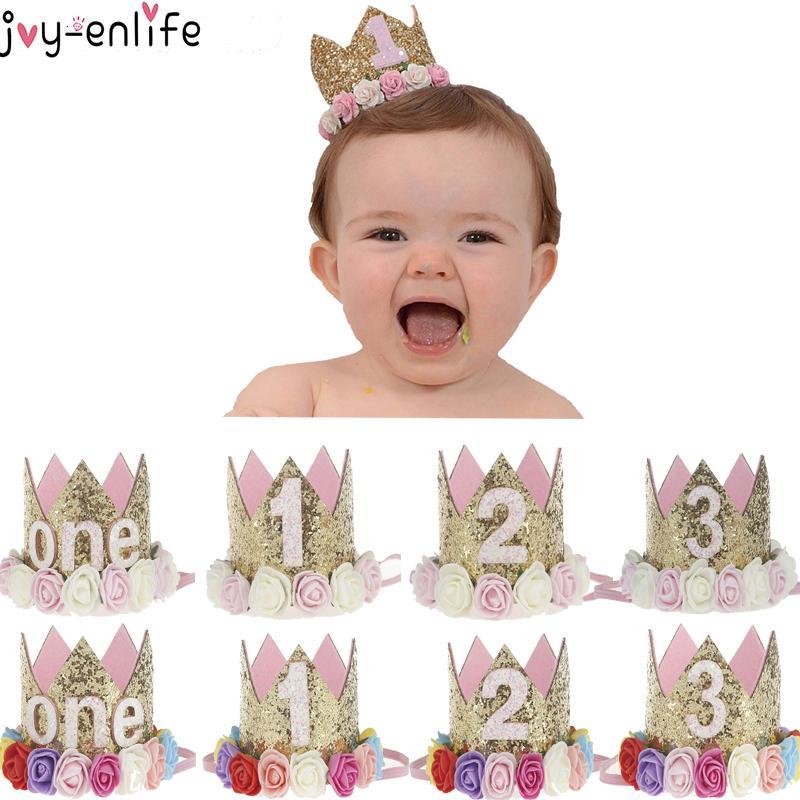 Joy-Enlife 1pc 1 2 Cap Aniversário 3 Decoração do chapéu do partido 1º Crown Flower aniversário bebê recém-nascido Headband de 1 ano