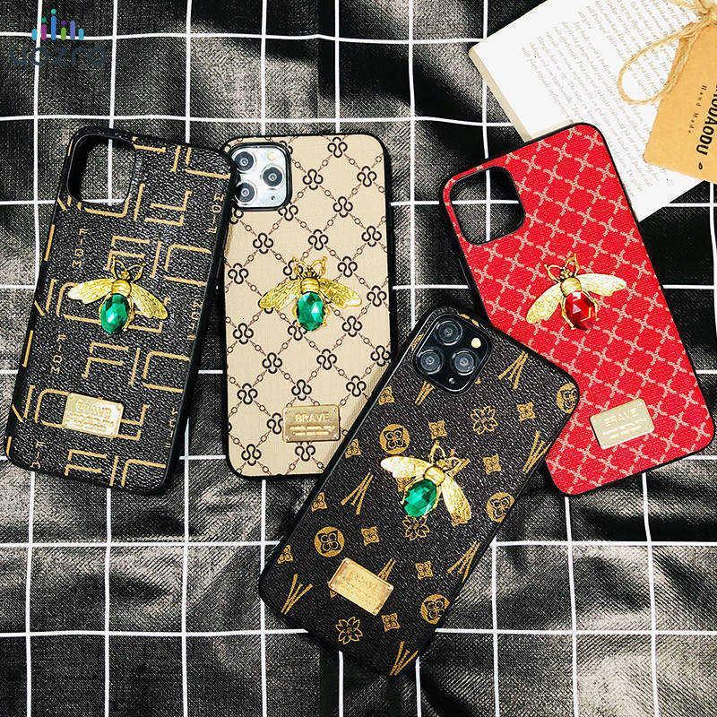 Luxo Telefone Caso Bee Gemstone 3D para iPhone 11 11 Pro 11 Pro Max 6 6s 7 8 Plus 7plus X XR Xs Max Xs 10 Jeweled Caso Glitter Moda couqe