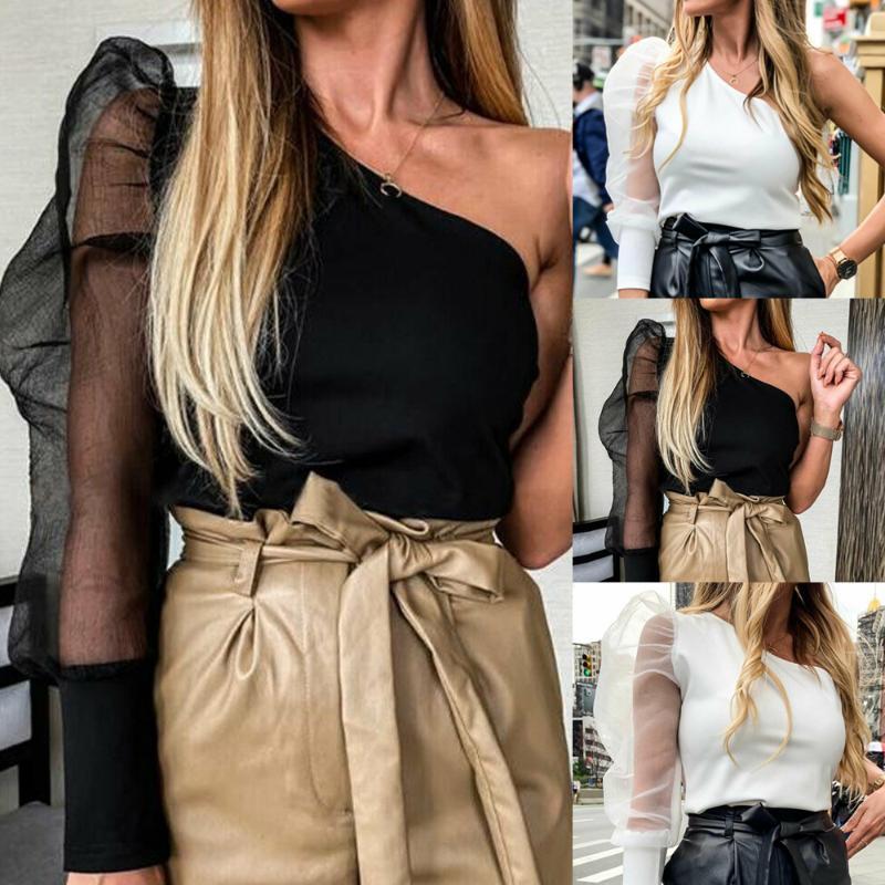 Frauen Ineinander greifen-Netz-Bluse mit Puffärmeln Sheer Top One-Shoulder-Damen-Hemd Sexy Tops Damenmode Slim Fit Female blusa feminina