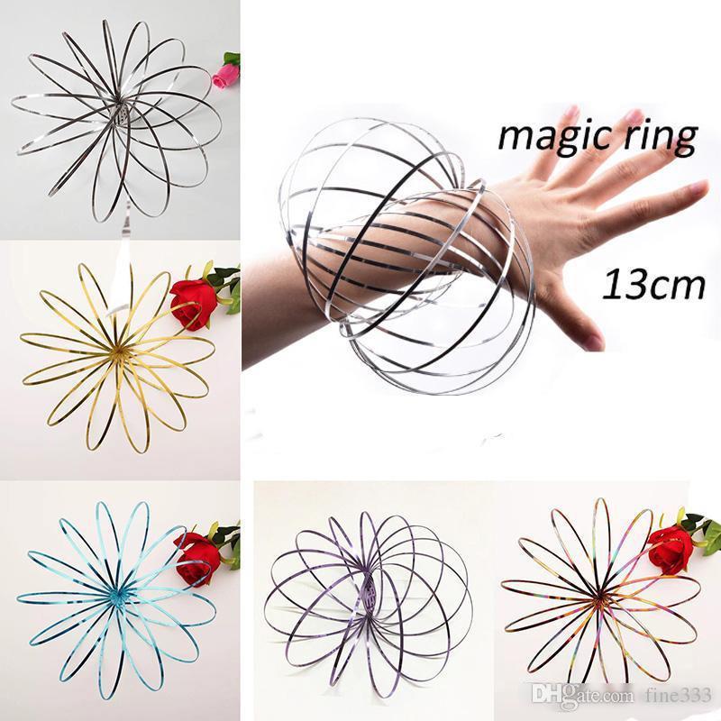 Toroflux 플로우 링 5 인치 스테인레스 스틸 키네틱 스프링 메탈 SUS 304 Toroflux Magic Flow Ring 마술 팔찌 아이를위한 대화식 장난감