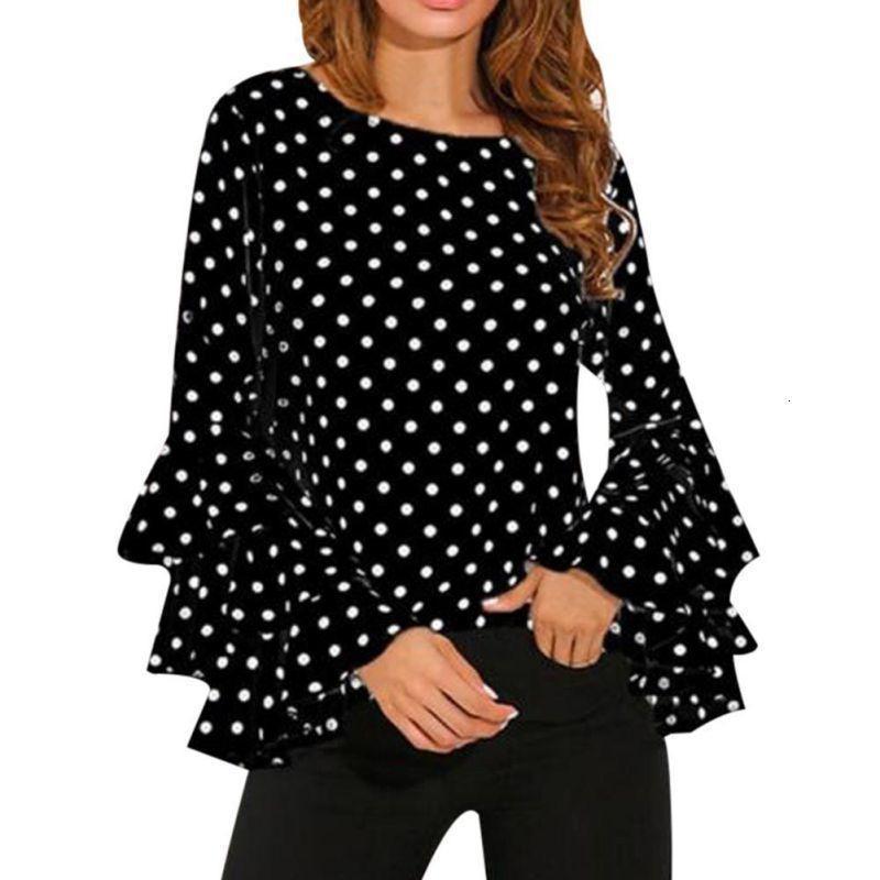 Abbigliamento Donna Womens camicette donne Plus Size Pois camicette Vintage Blusa in chiffon camicia Ufficio increspature del chiarore del O collo di piani