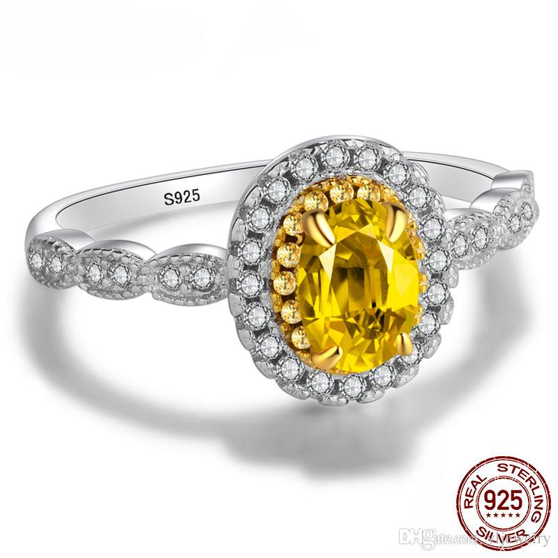 Original 925 Sterling Silver Ring Fashion Yellow 5*7mm Oval CZ Zirconia Ring Luxury Wedding Ring Engagement Jewelry Gift for Women XR231