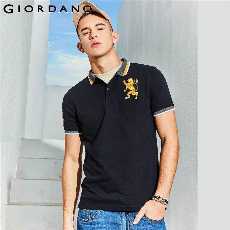 지오다노 셔츠 수 놓은 3d 라이온 멀티 남성 자 수 대비 색 패션 Camisa 폴로 SH190718