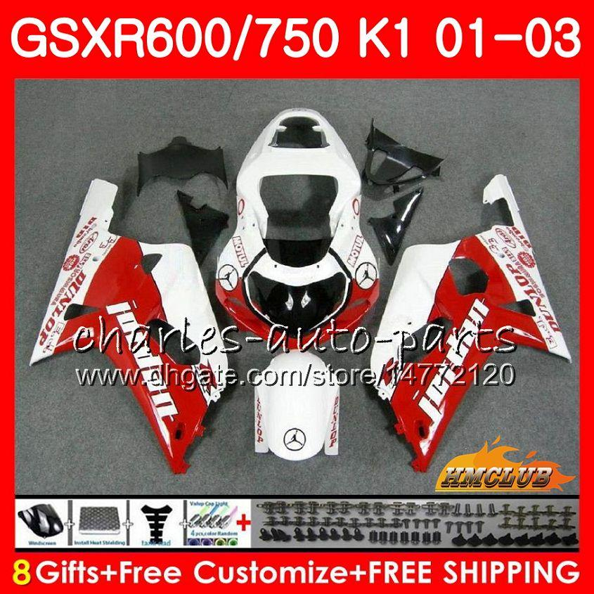 8Gifts corpo per SUZUKI GSXR600 GSX R750 K1 GSXR600 GSXR750 GSXR750 4HC.65 GSXR 600 750 01 02 03 2001 2002 2003 rosso bianco Kit carenatura caldo