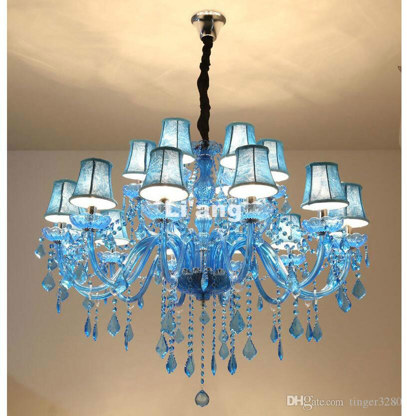 best service ccb97 5be67 Modern European Blue K9 Crystal Chandelier Lustre Blue Crystal Chandelier  Optional Lustres De Cristal Chandelier Shades Included Black Chandeliers ...