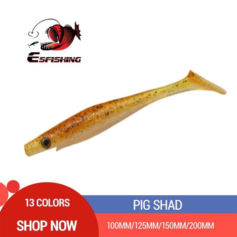 ESFISHING New Pig Shad 100mm 125mm 150mm 200m Fishing Lures Jerkbait Sea Big Bait Soft Lure Paddle Tail Silicon Bait Sea Fishing