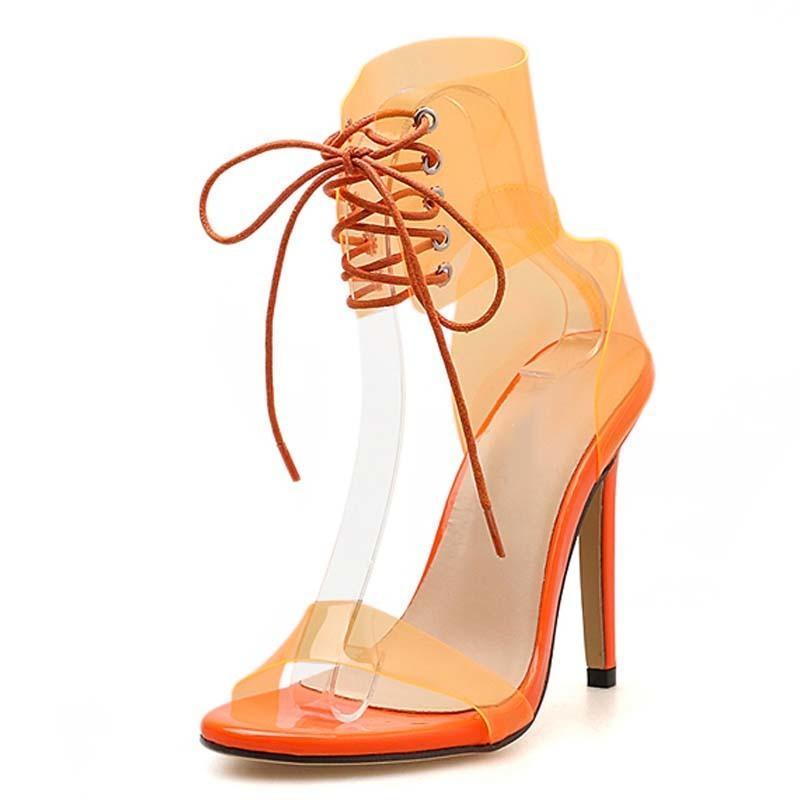 Heißer verkauf-kleid 2019 pvc gelee lace-up sandalen offene toed high heels sexy frauen transparente ferse sandalen party pumpen 11 cm