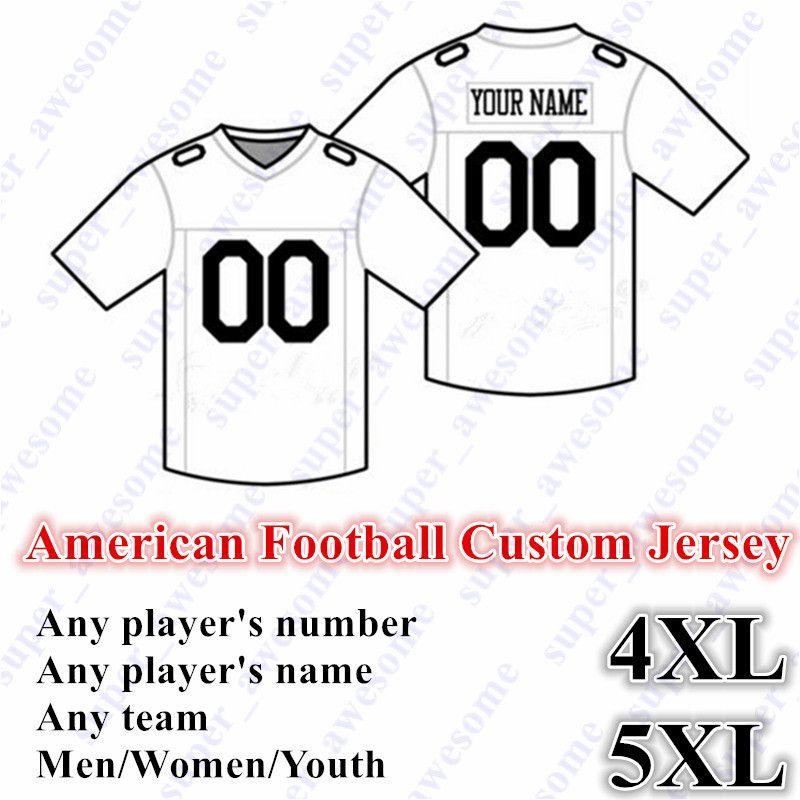 5XL New American Football CUSTOM Jersey Tous les 32 équipe sur mesure Tout Nom Pas de préférence Nombre Taille S-6XL Ordre Mix Hommes Femmes Enfants Enfants Cousu