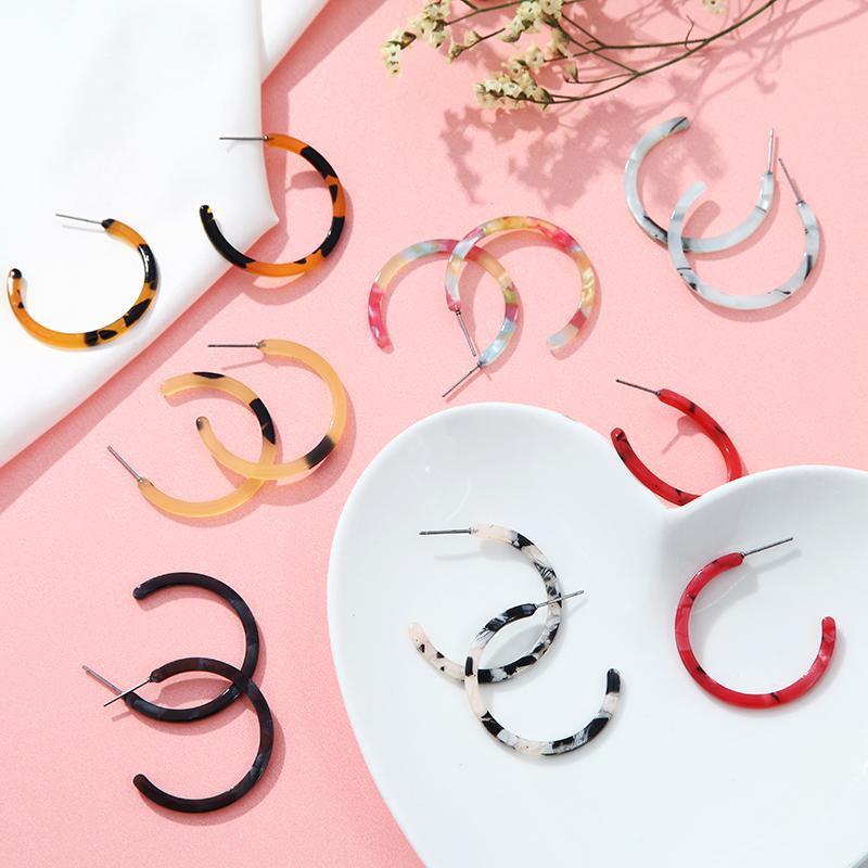 Yeni 2020 Takı hediyeler Kız Kadın Küpe Moda Kore Akrilik Leopar Desenli Bohemian Charm Geometrik Damla Küpe