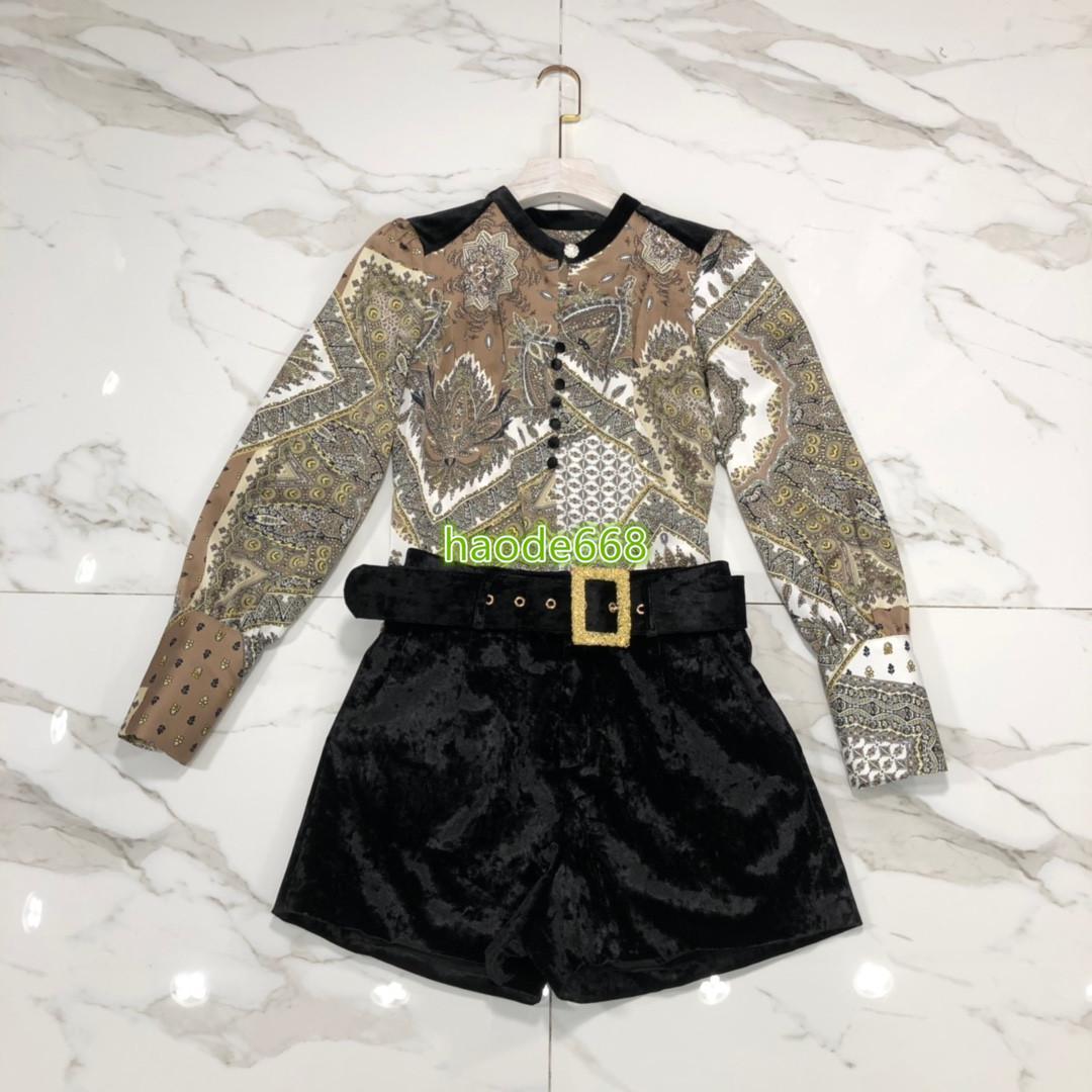 haut de gamme de femmes filles motif patchwork chemise longue série col ras du cou manches blouse une ligne short en velours pantalon 2020 design de mode costume vintage