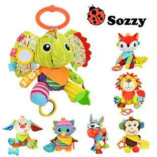 Sozzy Baby Vibrated Plush Animal Lion Toy Rattle Crinkle Sound 18cm Soft Stuffed Multicolor Multifunction children doll