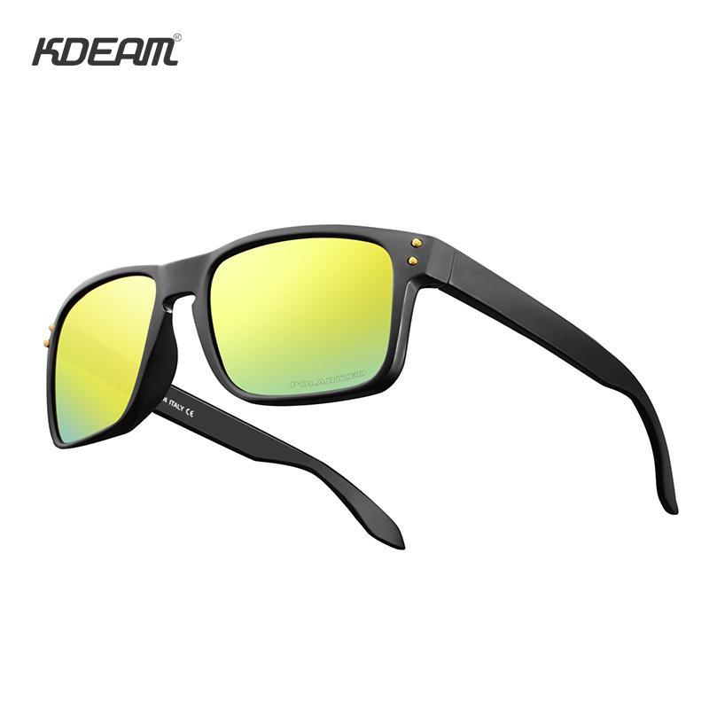 Kdeam retângulo polarizada óculos de sol menwomen lenda projeto oculos de sol caso duro incluído mx190723