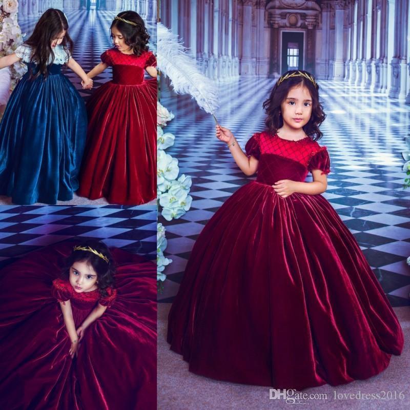 2020 abiti vestito da spettacolo maniche corte Abiti gioiello collo festa di compleanno Borgogna principessa velluto delle ragazze di fiore