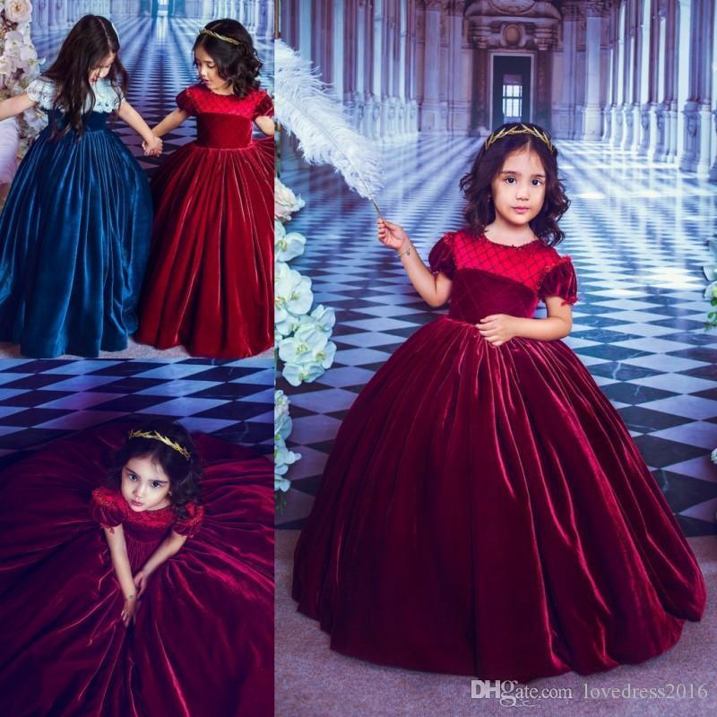 2020 Burgundy Velvet Princess Flower Girls' Dresses Jewel Neck Short Sleeves Birthday Party Gowns Pageant Dress