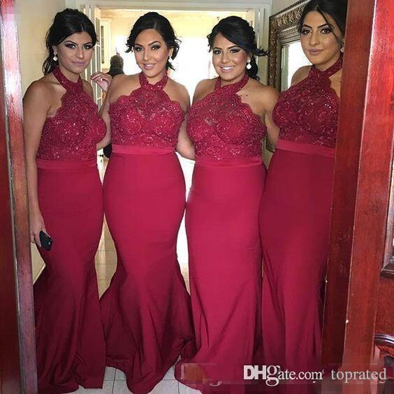 2020 Lunghezza New Borgogna Halter collo lungo abiti da damigella d'onore del merletto della sirena Top Floor vestiti da partito Prom Invitato a un matrimonio Gowns
