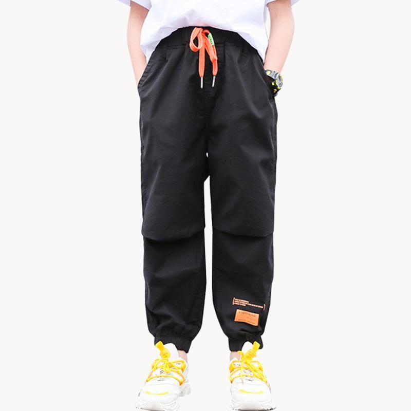 Jeans für Jungen beiläufige Art Jungen-Kind-Jeans Brief Kinder für Jungen Tunnelzug Kinderbekleidung 6 8 10 12 14