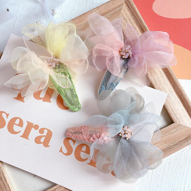 New Sweet Children Hairpin Cute Cream Gauze Crystal Lace Flowers Hair Clip Simple Barrettes for Girl Fashion Hair Accessories