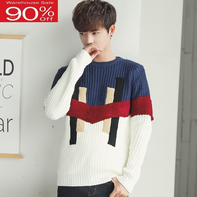 Men Korean style 2020 new winter student male sweater loose pullovers patchwork teenager boy knitted tops fashion M04