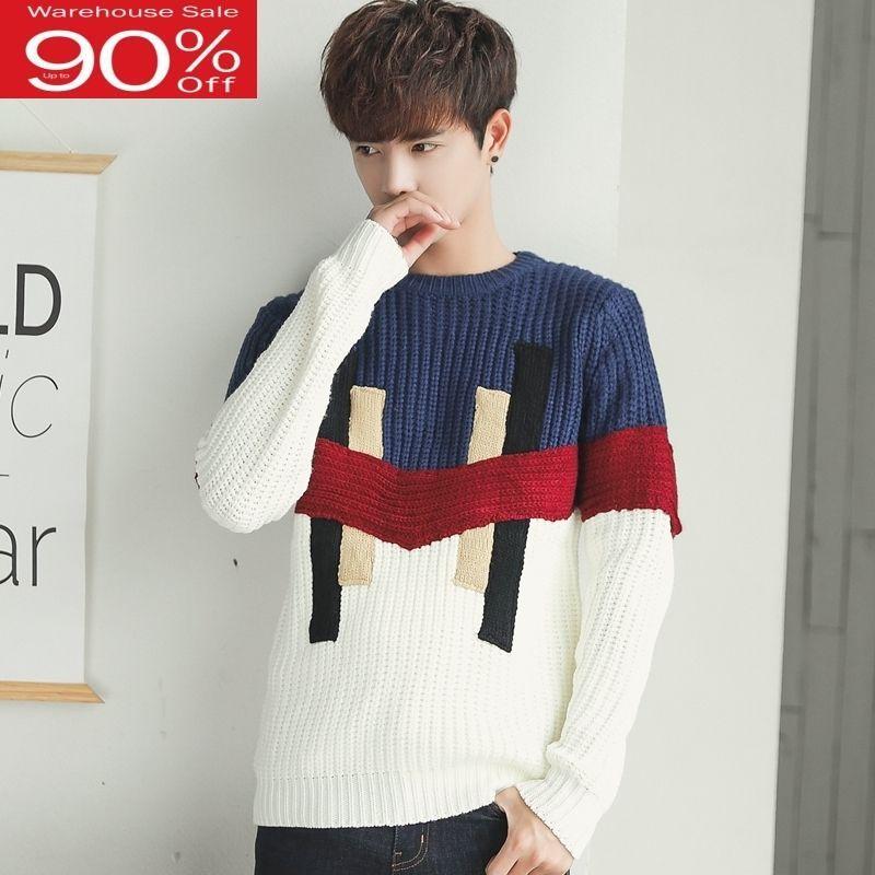 Les hommes de style coréen 2020 nouvel hiver étudiant pull homme pullovers en vrac patchwork adolescent garçon hauts en tricot mode M04