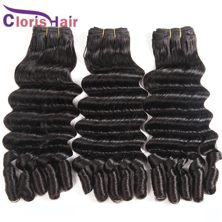 Erstaunliche Texturen Raw Indian Virgin Hair 3 Bundles Tante Funmi Bouncy Romantik Locken Echthaar Extensions Doppel Gezogen Nigeria Funmi Webt