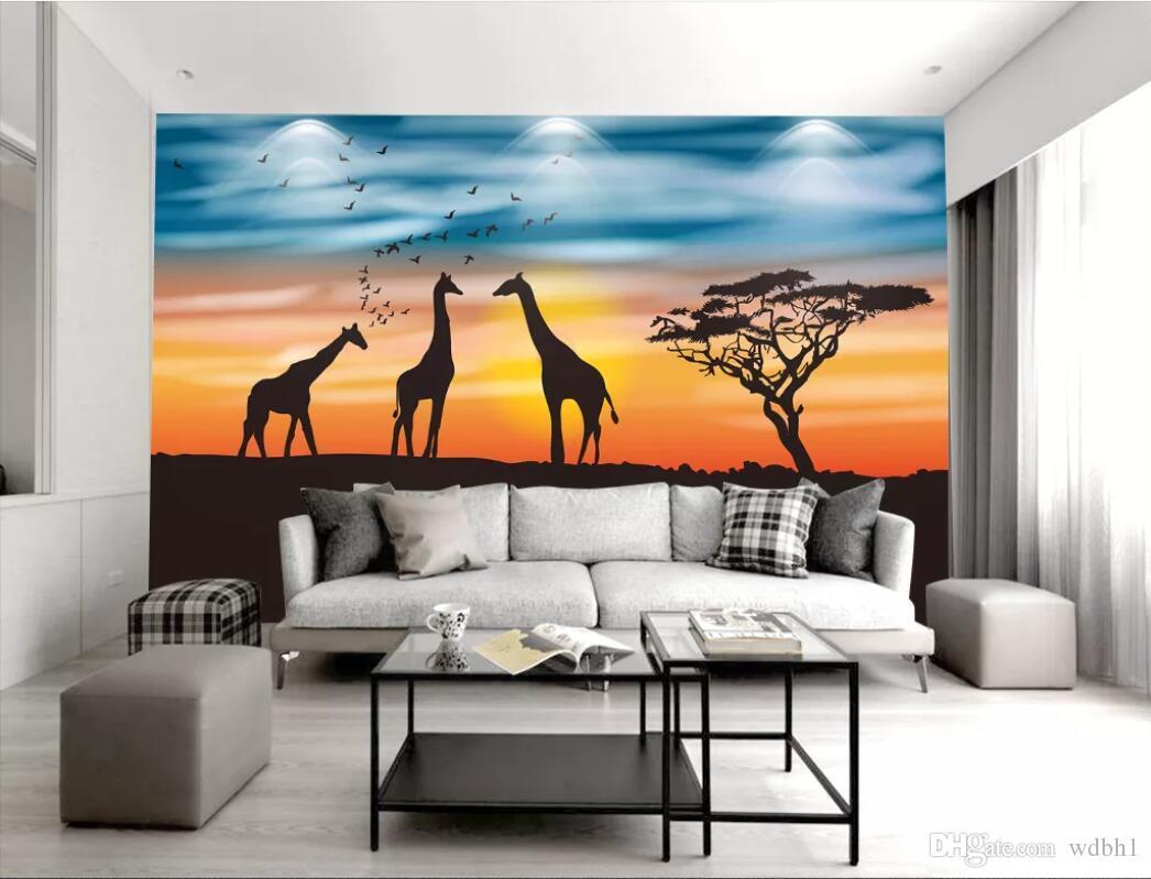 3d комната обои на заказ фото пастбище жираф Акация дерево закат фон настенная роспись обои благоустройство дома искусство холст фотографии