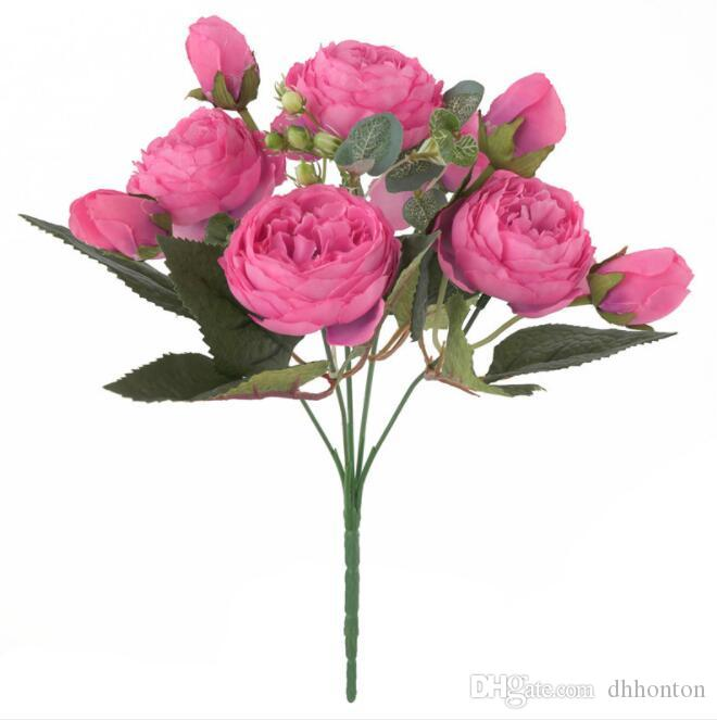 High Quality Bridal 9 heads Rose Bouquet 30cm long artificial flowers 9 flower heads rose silk flower