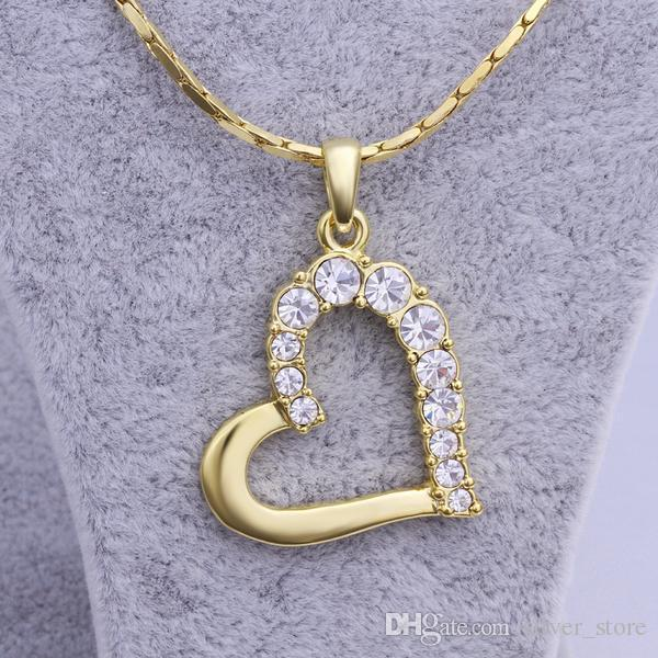 Free shipping brand new 24k 18k yellow gold heart Pendant Necklaces jewelry GN512 fashion gemstone crystal necklace christmas gift