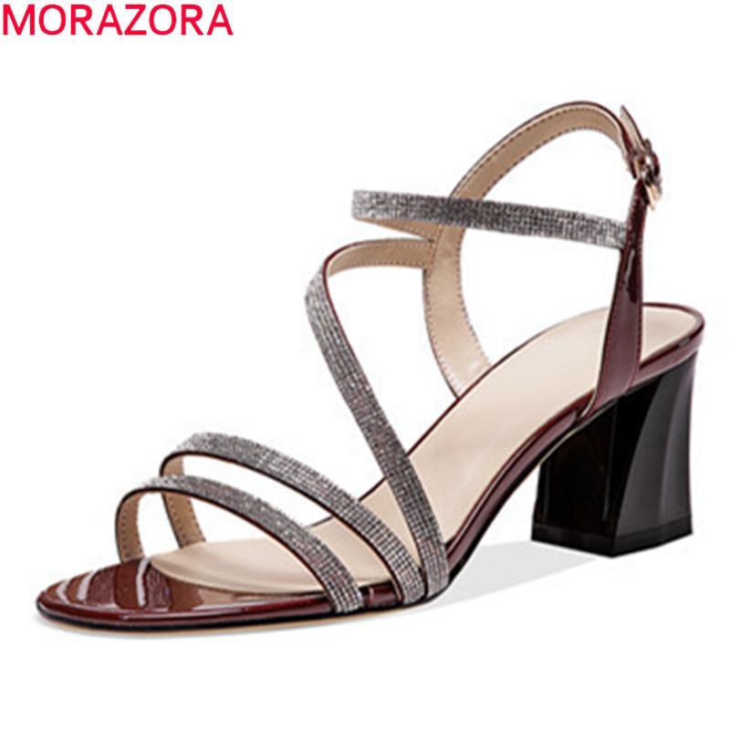 MORAZORA 2020 Новых сандалии женщин мода толстой высоких каблуков обуви из натуральной кожи пряжки летней обуви партии черные