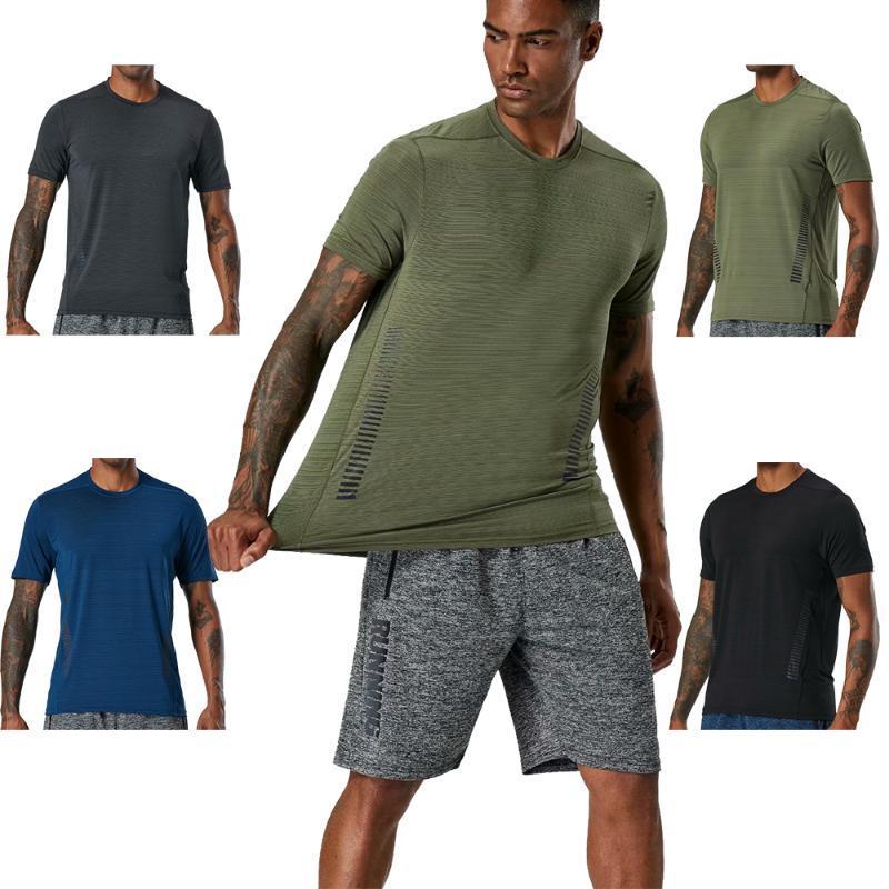 Homens T shirt de funcionamento Sports Quick Dry apertado Outdoor Musculação compressão da aptidão T-shirt Elastic Jogging mangas curtas Gym