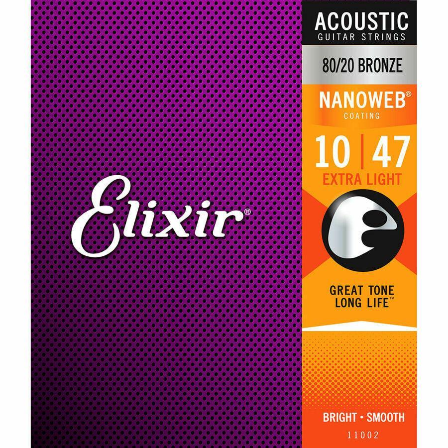 1 مجموعة Elixir Nanoweb 11002 80/20 برونزي مكافحة الصدأ سلاسل الغيتار الصوتية 10-47