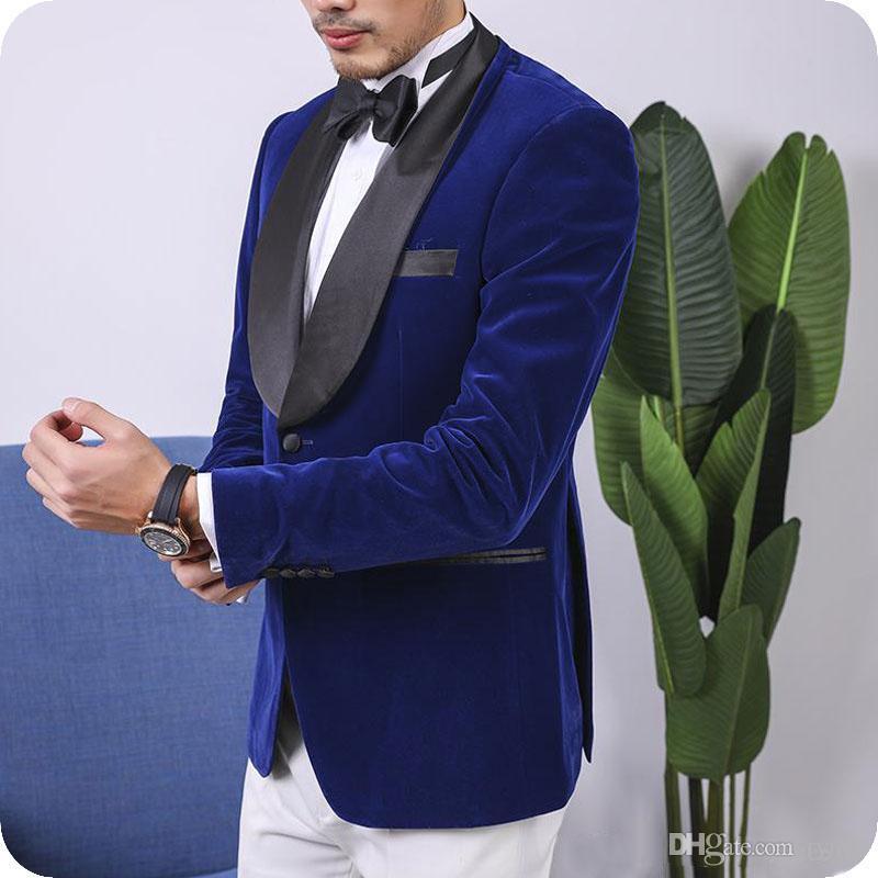 Royal Blue Velvet Groom Tuxedo Men Wedding Suits Black Shawl Lapel Smoking Man Blazer Jacket Pants 2Piece Slim Terno Masculino Costume Homme