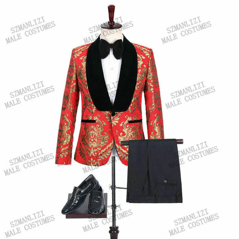 New Italian Design 2020 Slim Or rouge Floral velours robe smoking Lapel hommes costumes pour le mariage Groom Smoking Prom Best Man Blazer